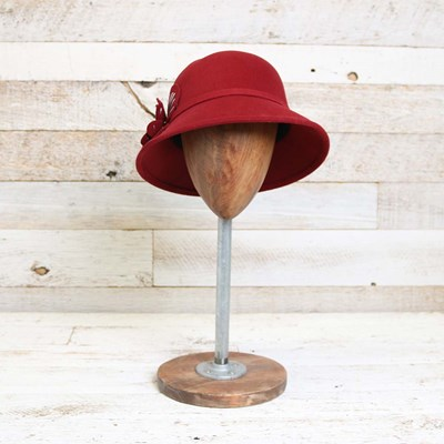 Wool Red Cloche Hat