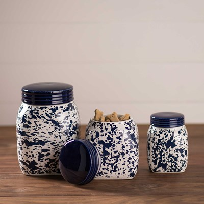 Blue Splatterware Mason Jar Canister Set