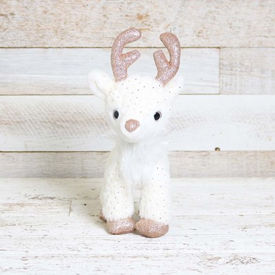 Rose Gold and White Plush Reindeer