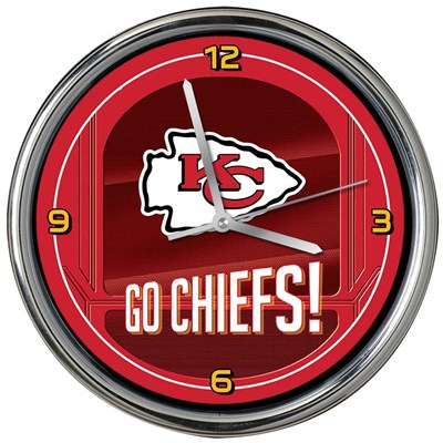Kansas City Chiefs Chrome Wall Clock