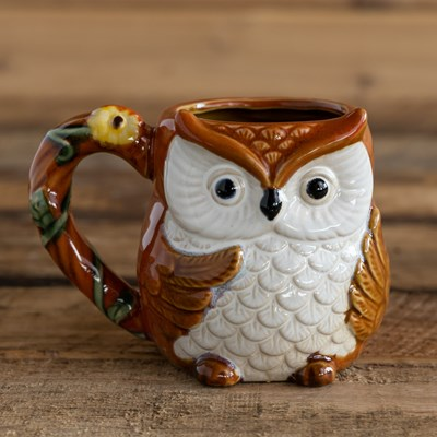 Stoneware Owl Mug - Orange