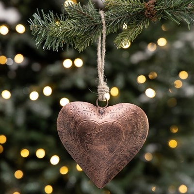 Copper Finish Heart Ornament - Small