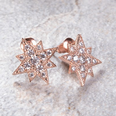 Rose Gold Cubic Zirconia Starburst Earring