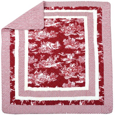 Oh Gussie! Red Toile Quilted Throw Blanket