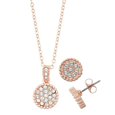 Swarovski Crystal Circle Necklace and Earring Set - 14K Rose Gold