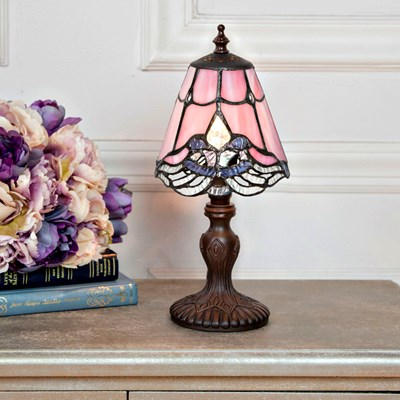 Tiffany Style Stained Glass Lace Mini Accent Lamp - Pink