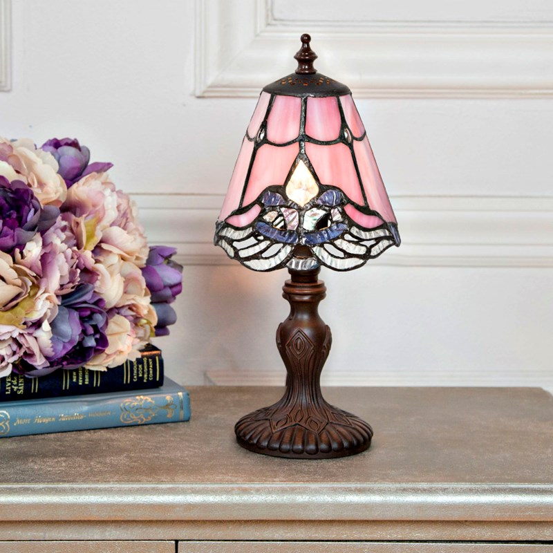 Tiffany Style Stained Gl Lace Mini Accent Lamp Pink 0