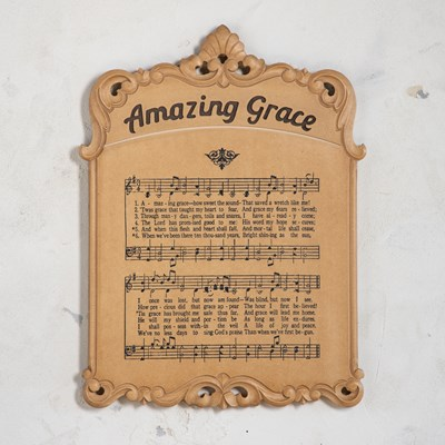 Wooden Amazing Grace Hymnal Page Wall Decor