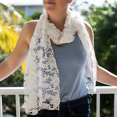 Floral Crochet Scarf