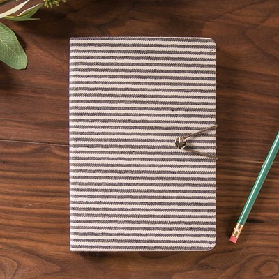 Striped Fabric Journal with Button Closure