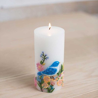 Bluebird Embossed Pillar Candle