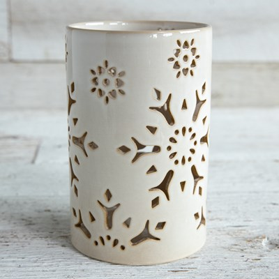 Oh Gussie! Ceramic Snowflake Candle Holder