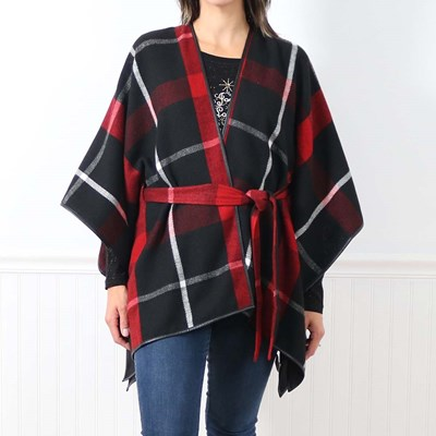 Plaid Wrap with Belt