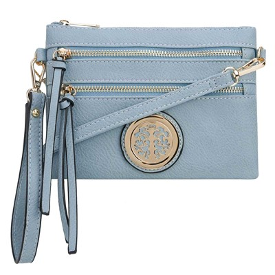 Light Blue Convertible Medallion Crossbody