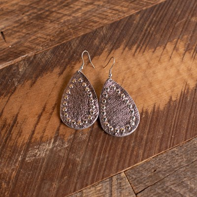 Studded Leather Earring