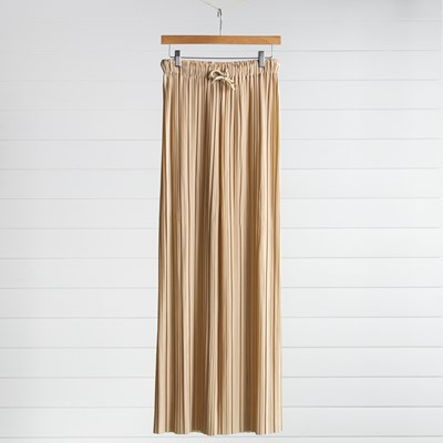 Beige Pleated Pull On Pants