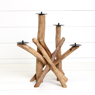 Wooden Candle Holder Centerpiece