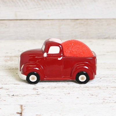 Red Truck Scrubby Holder with Scrubby