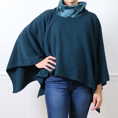 Dark Teal with Faux Fur Neck Poncho