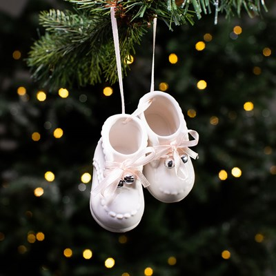 Ceramic Baby Shoes Ornament - Pink