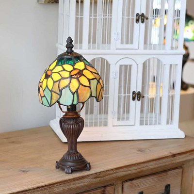 Stained Glass Sunflower Blossom Mini Accent Lamp