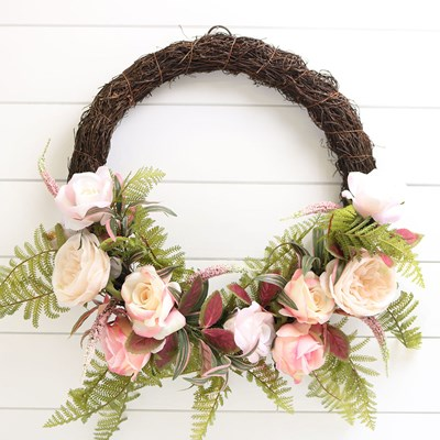 Faux Rose and Fern Wreath