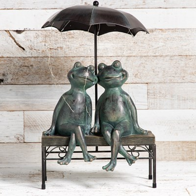 Solar Frog Couple Statue