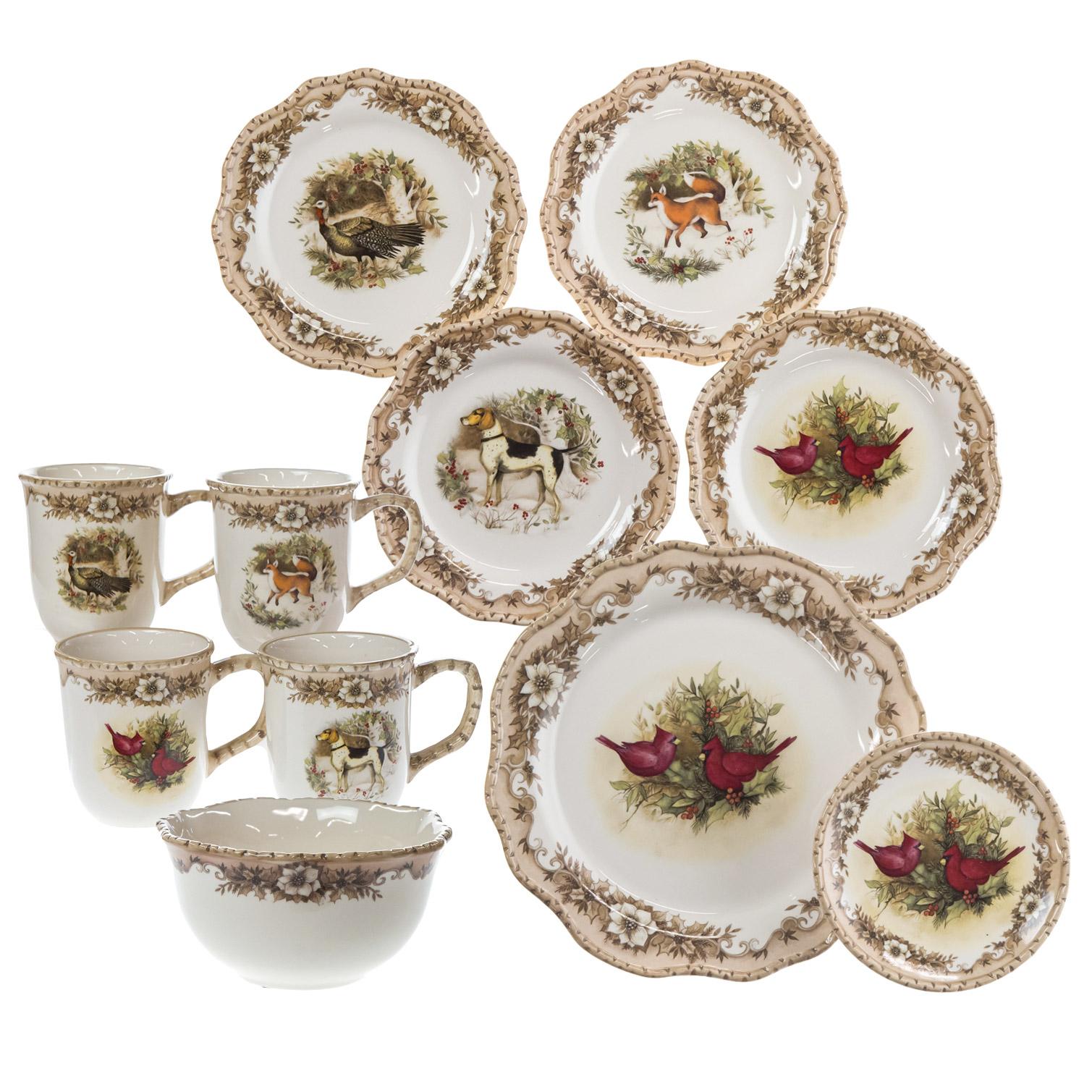 Woodland Stoneware 16-Piece Dinnerware Set   Christmas   Woodland ...