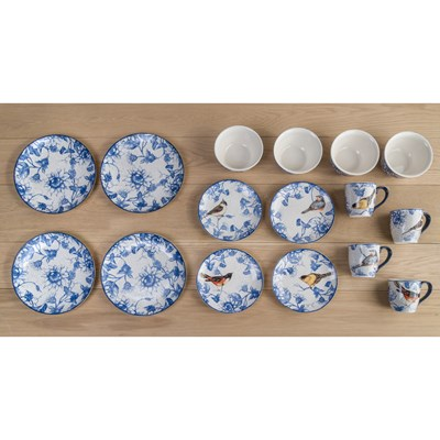 Stoneware 16-Piece Blue Garden Dinnerware Set