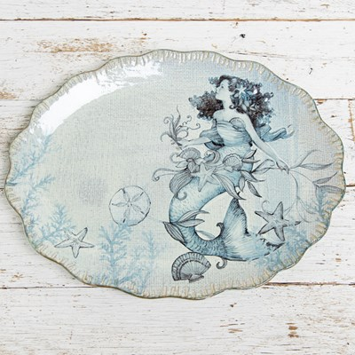 Stoneware Mermaid Oval Platter