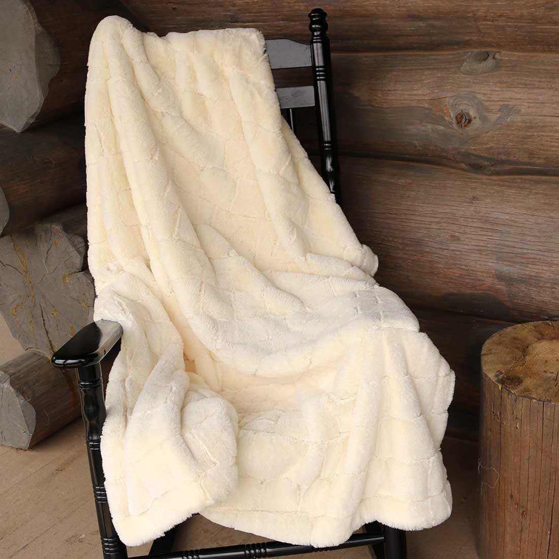 Jacquard Plush Faux Fur Throw