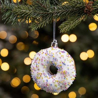 Shiny Doughnut with White Icing Ornament