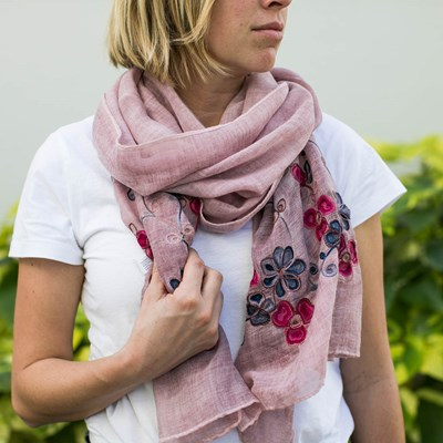 Sanctuary Garden Embroidered Scarf