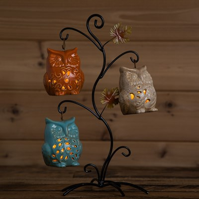 LED Light-Up Ceramic Owl Tree Decor