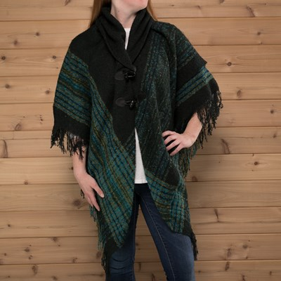 Border Stripe Boucle Toggle Shawl
