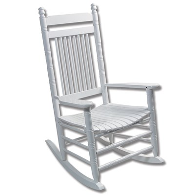Fully Assembled Slat Rocking Chair - White