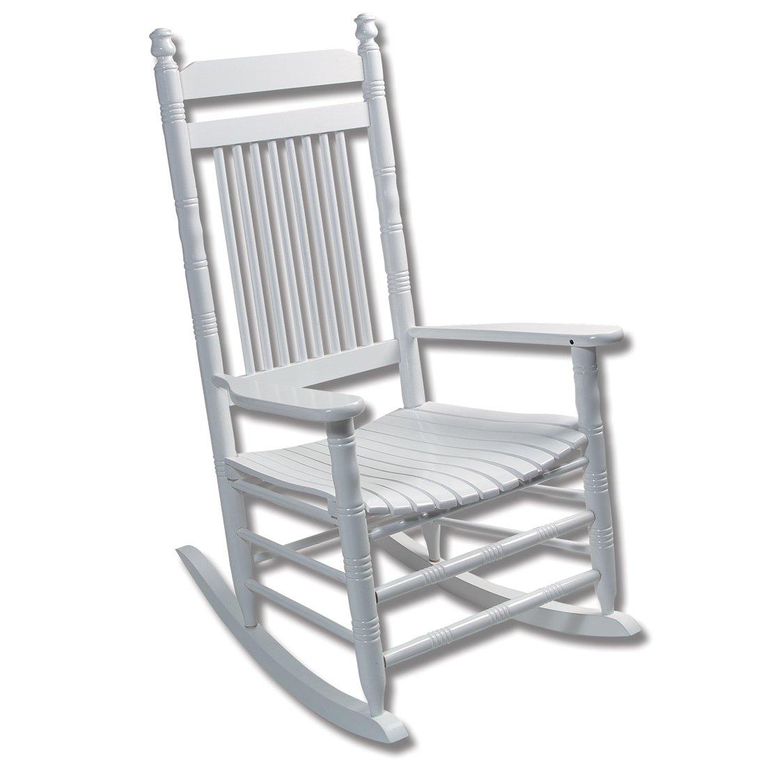 Merveilleux Fully Assembled Slat Rocking Chair   WhiteFully Assembled Slat Rocking Chair    White