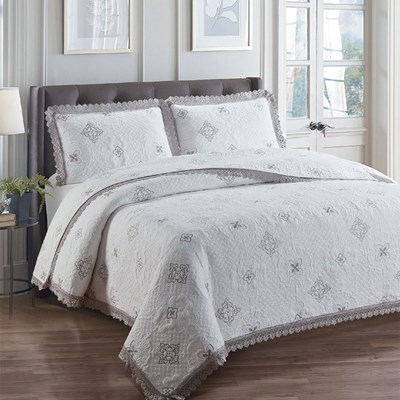 White and Gray Embroidered Quilt - King