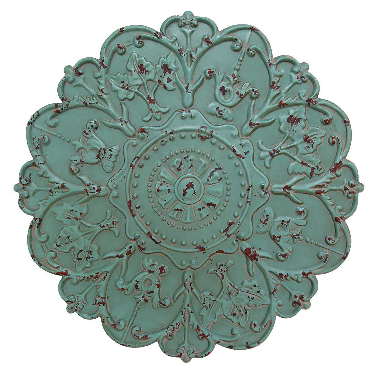 Hand Painted Shabby Chic Metal Medallion Wall Decor   Turquoise