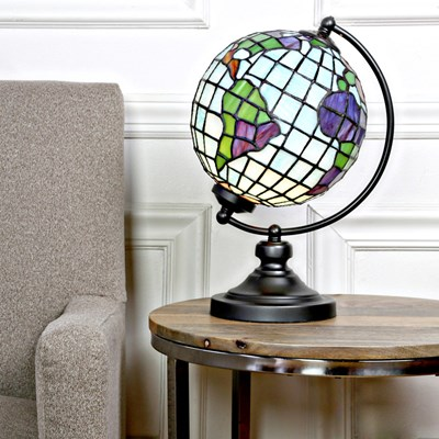 Tiffany Style Stained Glass World Globe Table Lamp