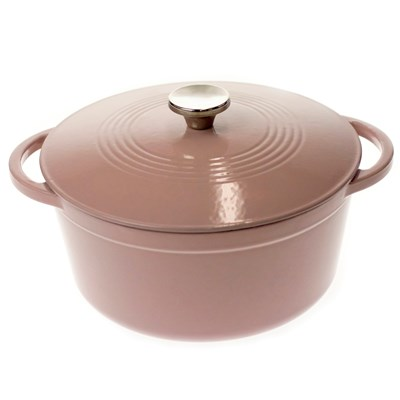 Oh Gussie! Lodge ® 6-Quart Pink Enameled Cast Iron Dutch Oven