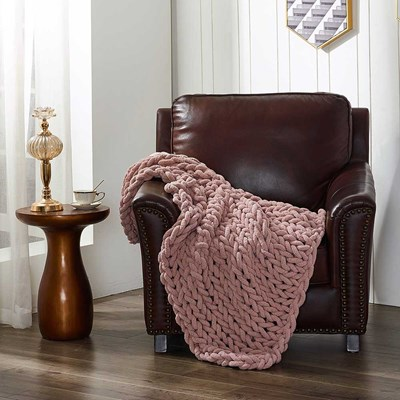 Chenille Knitted Throw - Blush