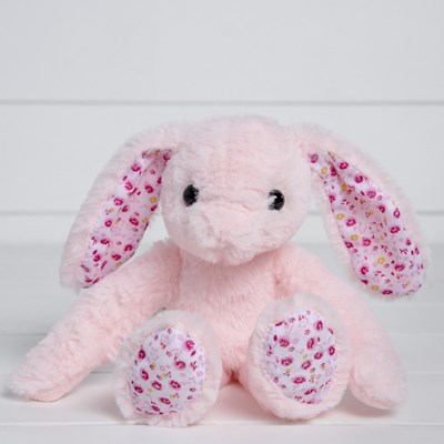 Pink Bunny with Flowers Plush