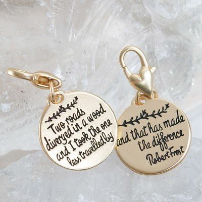 """Two Roads"" Robert Frost Quote Charm"