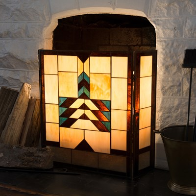Adobe Mission Style Stained Glass Fireplace Screen