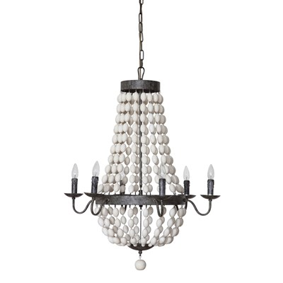 Iron Chandelier with White Wood Beads