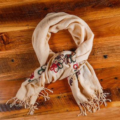 Floral Embroidered Scarf with Fringe