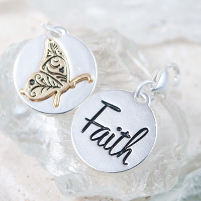 """Faith"" Butterfly Charm"