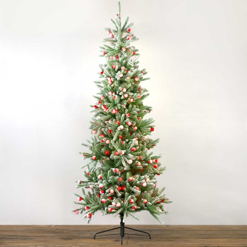 8 ft. Prelit Quick-Connect Slim Frosted Spruce Christmas Tree ...