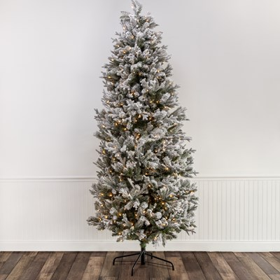 9' Pre-Lit Flocked Spruce Christmas Tree